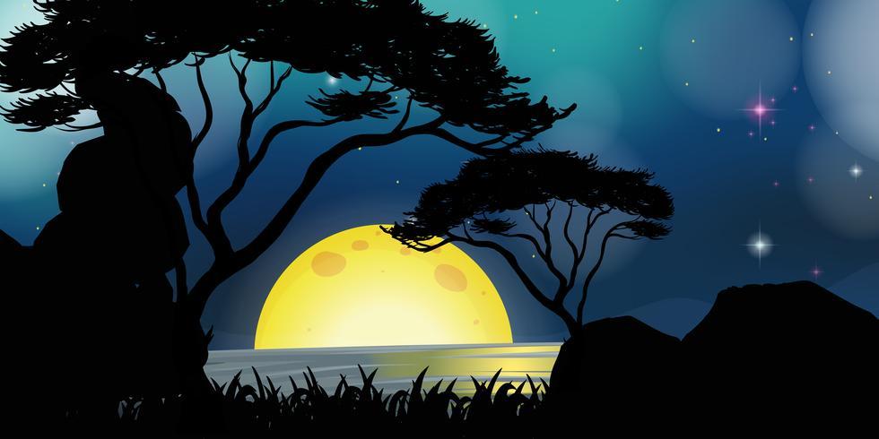 Scena silhouette con fullmoon durante la notte vettore