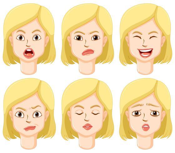 Mujer con diferentes expresiones faciales.