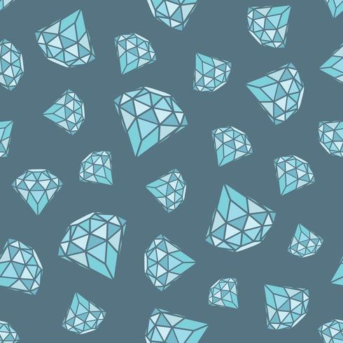 Seamless pattern of geometric blue diamonds on grey background. Trendy hipster crystals design. vector