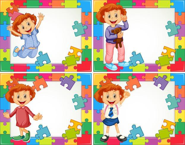 Plantilla de marco con niños en diferentes trajes.