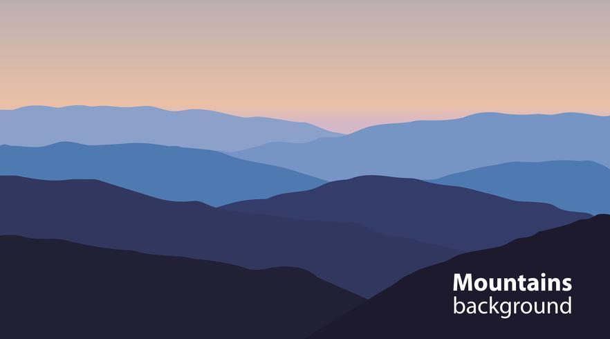Paesaggio con montagne e colline. Sport estremi, sfondo di attività ricreative all'aperto. vettore