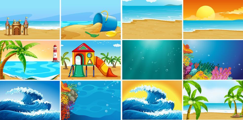 Set di sfondo spiaggia estate