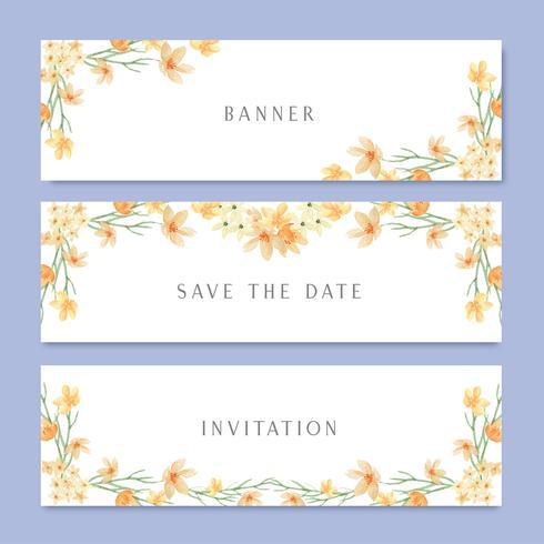 La acuarela florece con la bandera del texto, pintado a mano de la acuarela de las flores enormes aislado en el fondo blanco. Diseño de la frontera para la tarjeta, guardar la fecha, tarjetas de invitación de boda, cartel, diseño de banner.