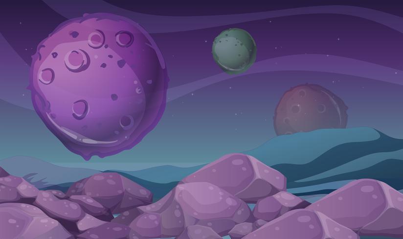 Achtergrondscène met purpere planeet