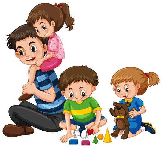 Family with father and three kids