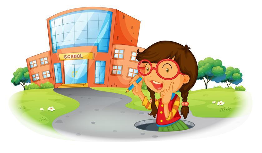 Una niña sosteniendo un lápiz dentro del agujero en la calle. vector