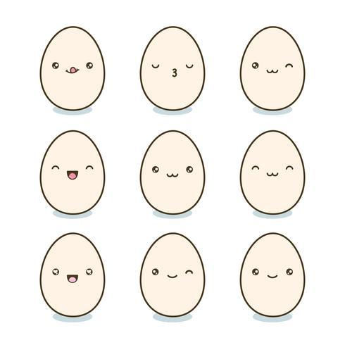 Huevos de Pascua felices fijados. Huevos de Kawaii con las caras lindas en el fondo blanco. Ilustración vectorial