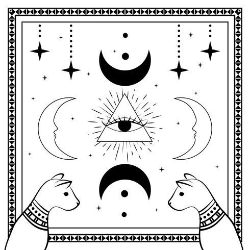 Gatos negros, cielo nocturno con luna y estrellas. Marco para texto de ejemplo. Magia, símbolos ocultos.