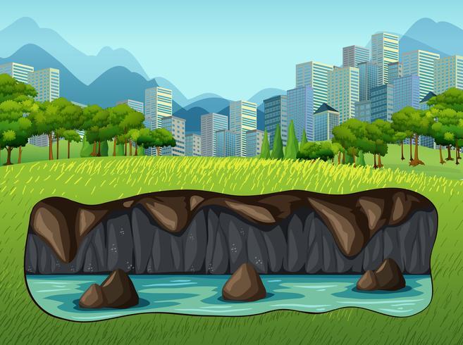 Acqua sotterranea vicino a Big City vettore