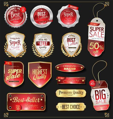 Insignias y etiquetas de oro premium de lujo vector