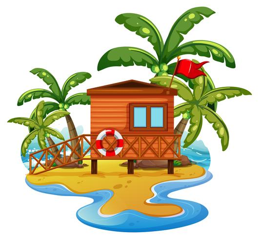 Scène met badmeesterhuis op strand