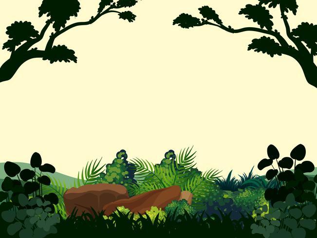 Scena di sfondo con alberi nella foresta