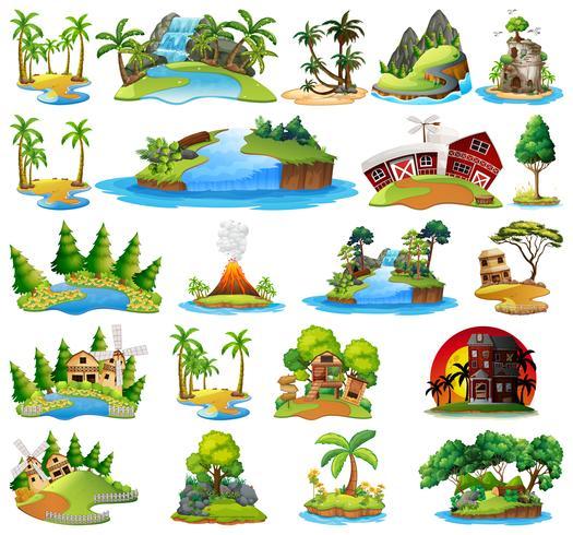 Set di paesaggi naturali vettore
