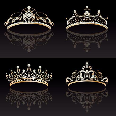 Set Sammlung von vier goldenen mit Perlen weiblichen Diademe