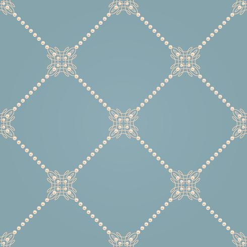 Patrón sin fisuras con el signo de nudo elegante y líneas diagonales de perlas. Ilustracion vectorial vector