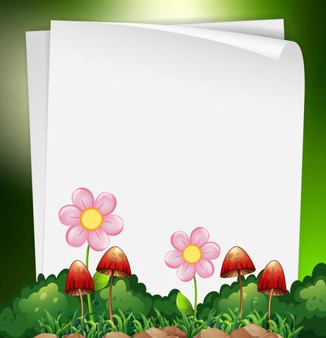 Plantilla de papel con flores y setas en el fondo