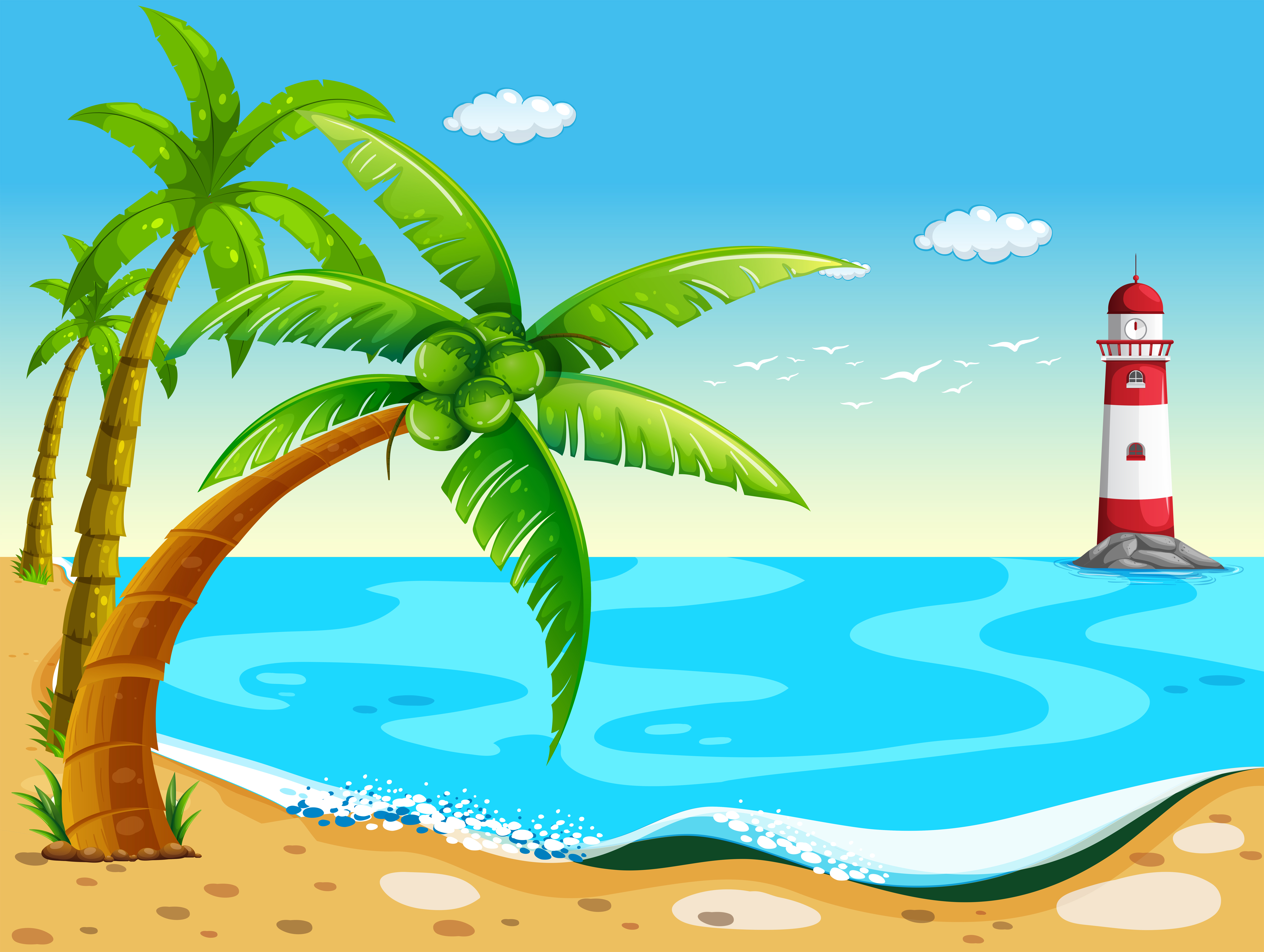 Coconut trees at the beach - Download Free Vectors ...