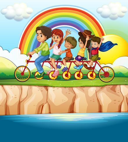 Bicicletta per famiglie lungo il fiume vettore