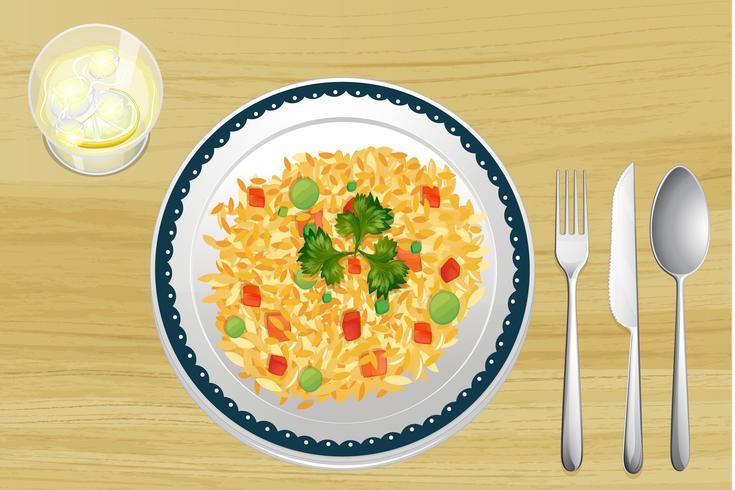 Ett ris i en maträtt vektor