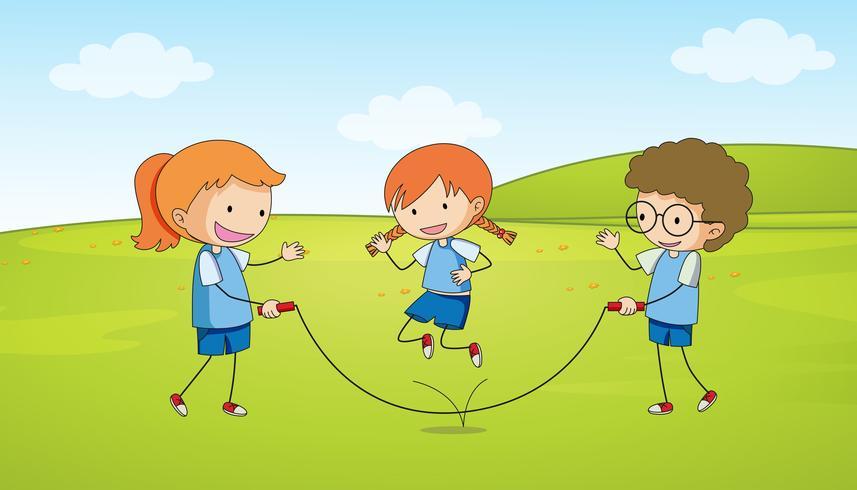 Kinder spielen Seilspringen