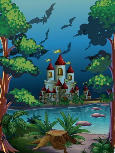 Scena con castello di notte