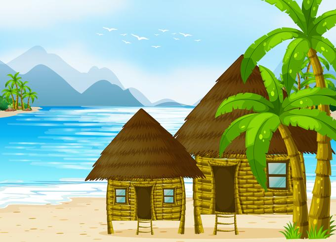 Capanne di legno sulla spiaggia vettore