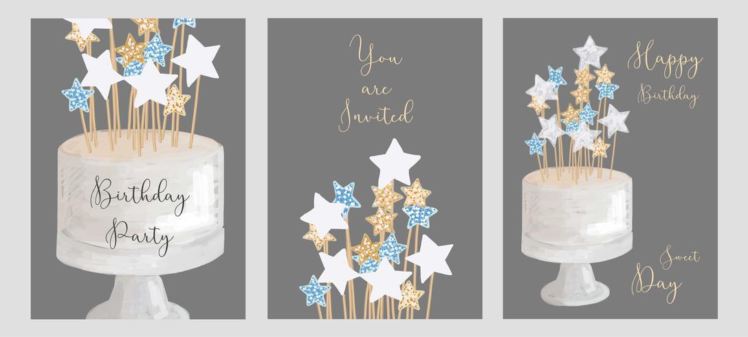Set of birthday greeting cards design.