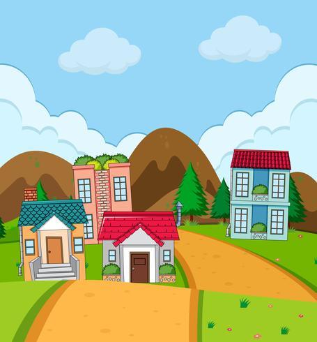 Casa rural de pueblo en plena naturaleza. vector