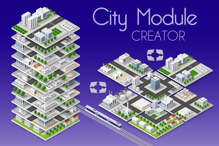 Ciudad módulo creador isométrico vector