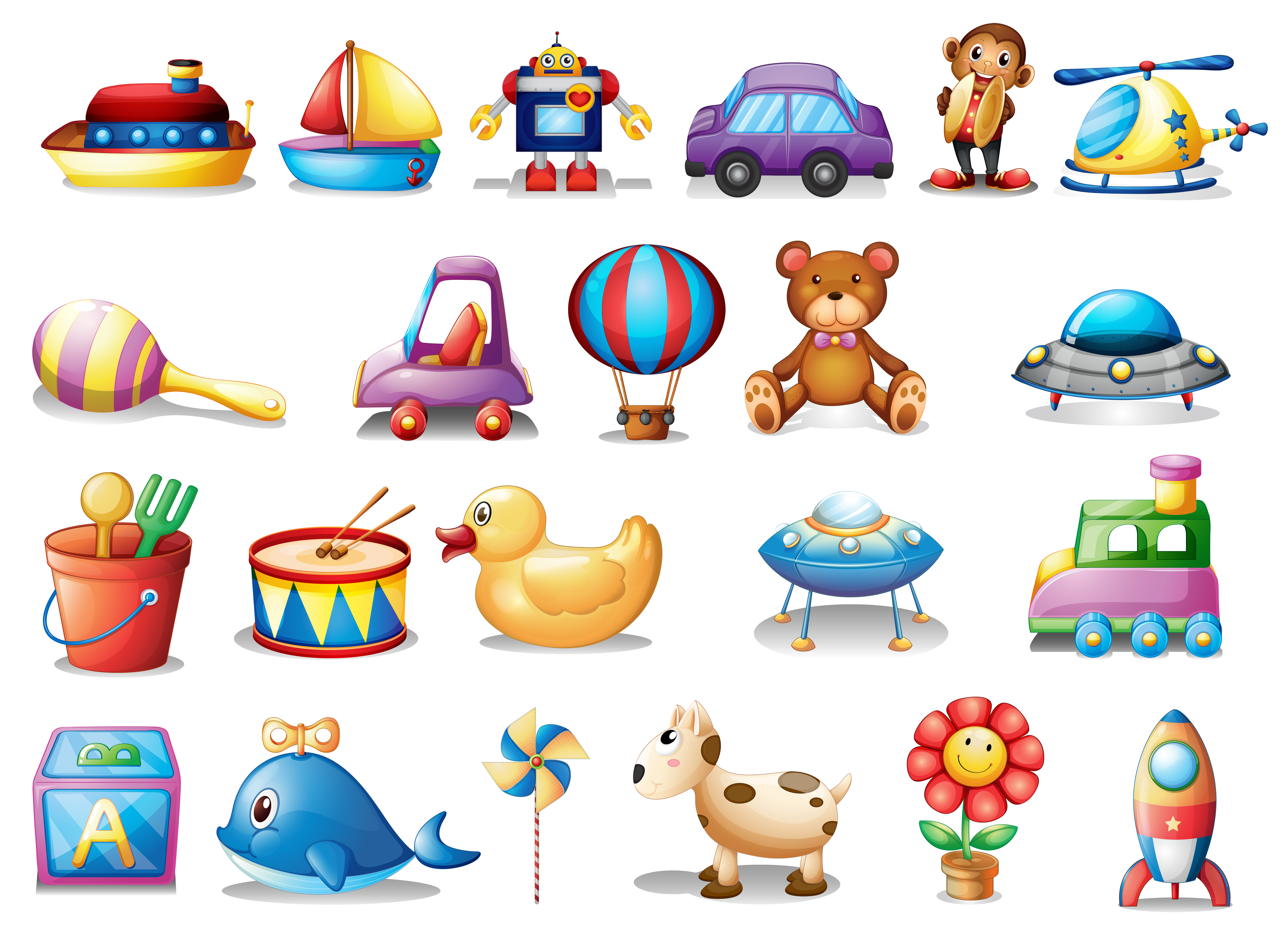 Set of different toys - Download Free Vector Art, Stock ...