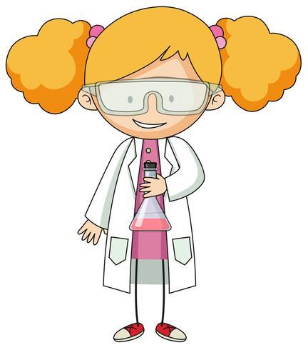 Ragazza in carattere abito da laboratorio vettore