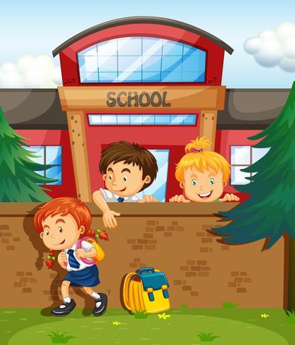 Kinder springen aus der Schule