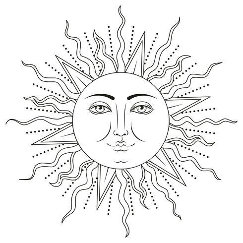 Sol med mänskligt ansiktssymbol. Vektor illustration.