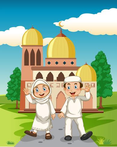 Un couple musulman devant la mosquée vecteur
