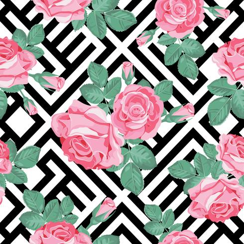 Floral seamless pattern. Pink roses with leaves on black and white geometric background. Vector illustration