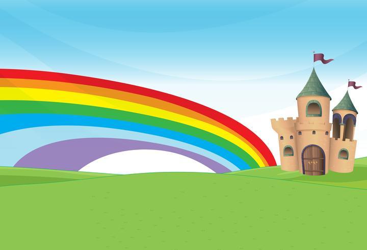 Un château et l'arc-en-ciel
