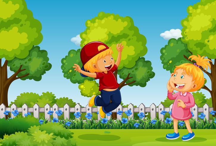Dos niños jugando en el parque vector