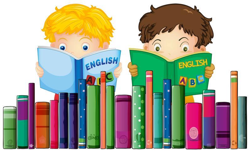 Chicos leyendo libro de ingles vector