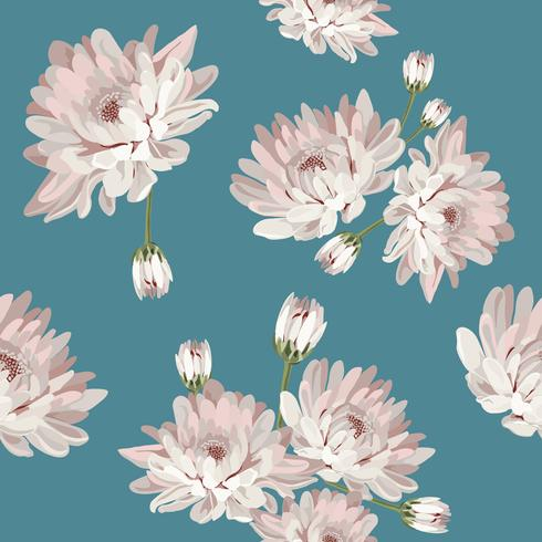 Floral seamless pattern with chrysanthemums