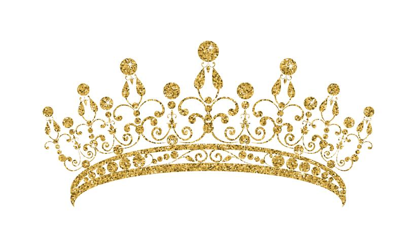 Schitterende diadeem. Gouden tiara die op witte achtergrond wordt geïsoleerd.