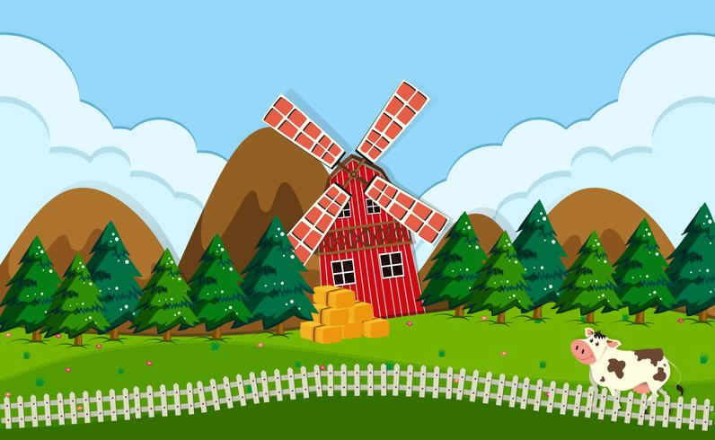A beautiful farm landscape vector