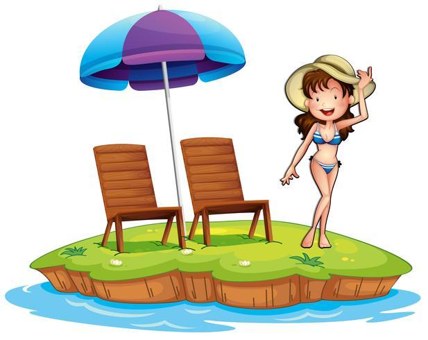 En ö med en ung tjej simning