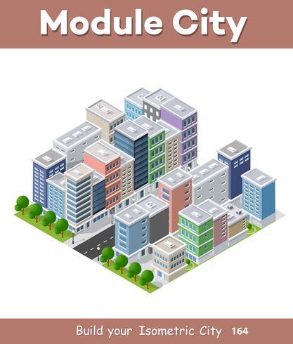 Stadt Telefon Konzept Geschäftsidee. Isometrischer Wolkenkratzer 3d