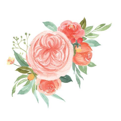 Akvarellblommor handmålade buketter frodiga blommor lustration vintage stil