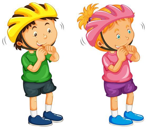 Niño y niña, llevando, casco vector
