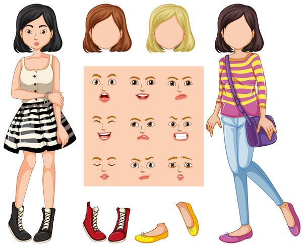 Set van meisje met verschillende gezichtsuitdrukkingen