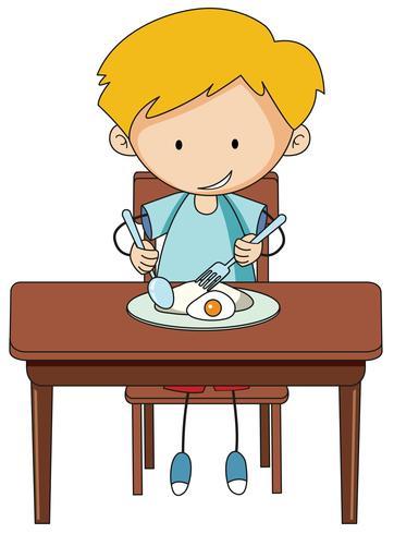 Doodle chico desayunando vector