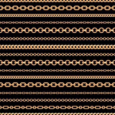 Modèle sans couture de lignes de la chaîne d'or sur fond noir. Illustration vectorielle vecteur