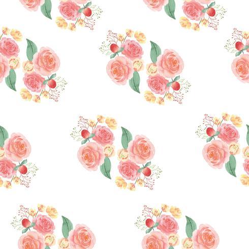 La materia textil enorme floral del vintage del estilo de la acuarela del modelo inconsútil, florece la acuarela aislada en el fondo blanco. Diseño de flores decoración para tarjeta, guardar la fecha, tarjetas de invitación de boda, cartel, diseño de bann