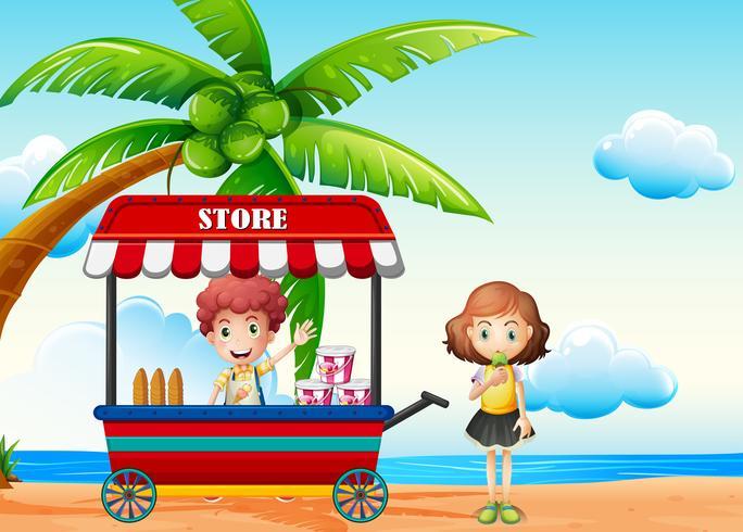 Strandscène met jongen en meisje bij voedselverkoper